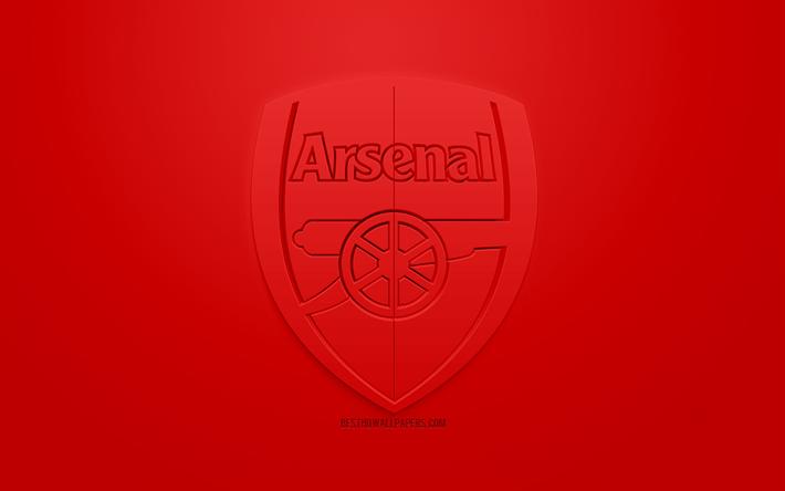 Scarica Sfondi Larsenal Fc Creativo Logo 3d Sfondo Rosso Emblema