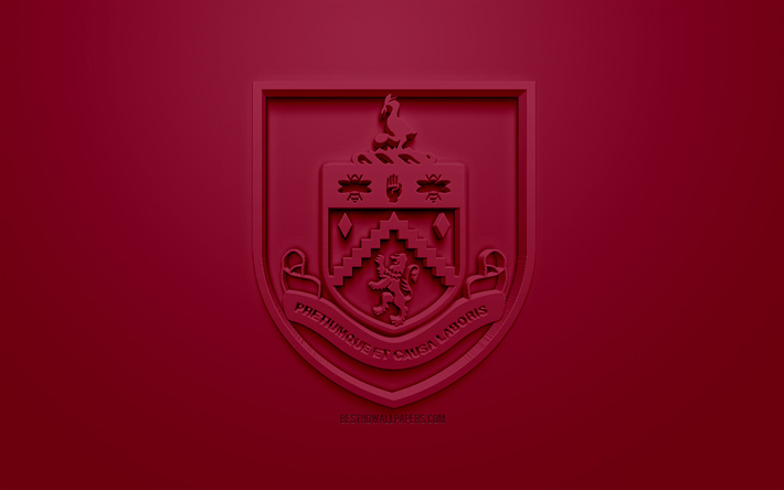 Download Wallpapers Burnley FC, Creative 3D Logo, Purple