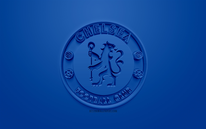 Download Wallpapers Chelsea FC, Creative 3D Logo, Blue