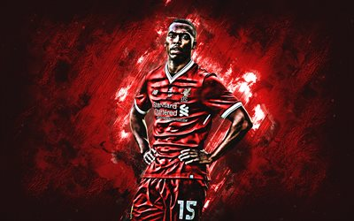 Daniel Sturridge, Liverpool FC, forward, red stone, portrait, famous footballers, football, English footballers, grunge, Premier League, England