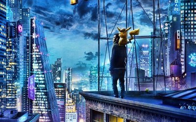 Pokemon Detective Pikachu, 3D-animation, 2019 movie, poster, fan art, Pikachu, chubby rodent