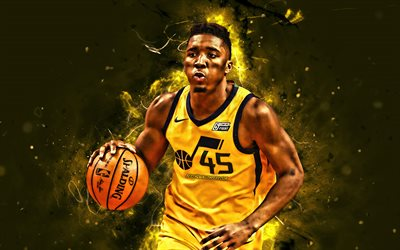 Donovan Mitchell, 4k, NBA, yellow uniform, Utah Jazz, basketball stars, Donovan Mitchell Jr, basketball, neon lights, creative, Donovan Mitchell 4K