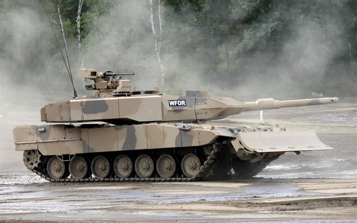 Leopard 2A7, German Main Battle Tank, sand camouflage, modern tanks, armored vehicles, 2A7, Germany, Bundeswehr