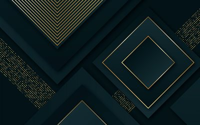 green abstract background, material design, luxurious green background, golden lines background