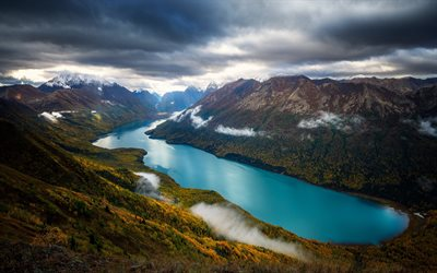fjord, mountain landscape, Norway, clouds, mountains, green hillsides