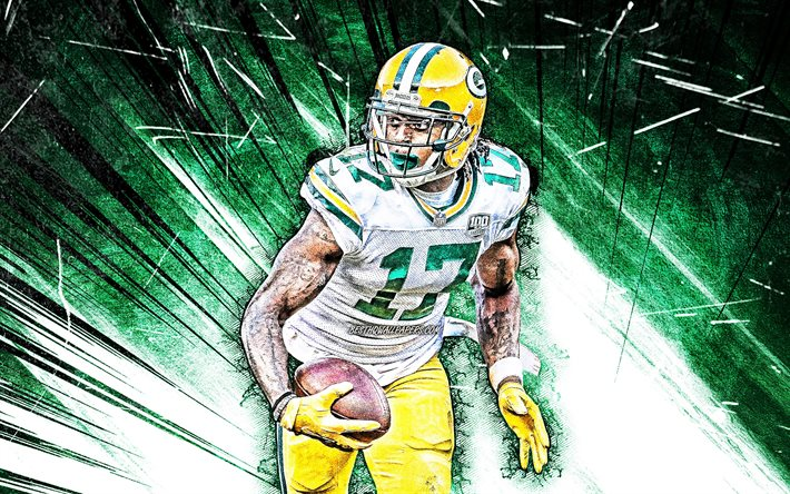 Download Wallpapers 4k Davante Adams Grunge Art Green Bay Packers Wide Receiver American Football Nfl Davante Lavell Adams Green Abstract Rays National Football League Davante Adams 4k For Desktop Free Pictures For