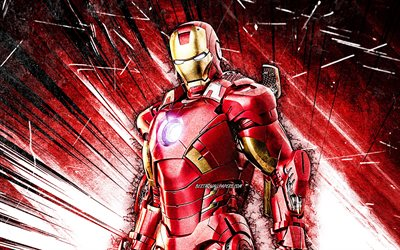 4k, IronMan, grunge art, superheroes, Marvel Comics, red abstract rays, IronMan 4K, Cartoon Iron Man