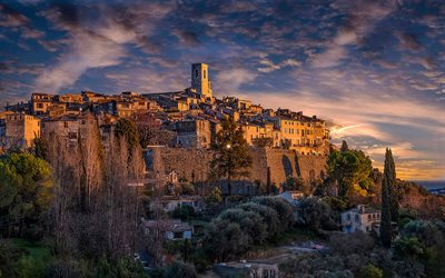 Saint-Paul-de-Vence, evening, sunset, beautiful city, French cities, Saint-Paul-de-Vence cityscape, France