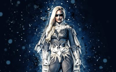 Dove, 4k, blue neon lights, superheroes, DC Comics, Hawk and Dove, DC Universe, Dove superhero, Dove 4K