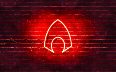 Aquaman red logo, 4k, red brickwall, Aquaman logo, superheroes, Aquaman neon logo, Aquaman