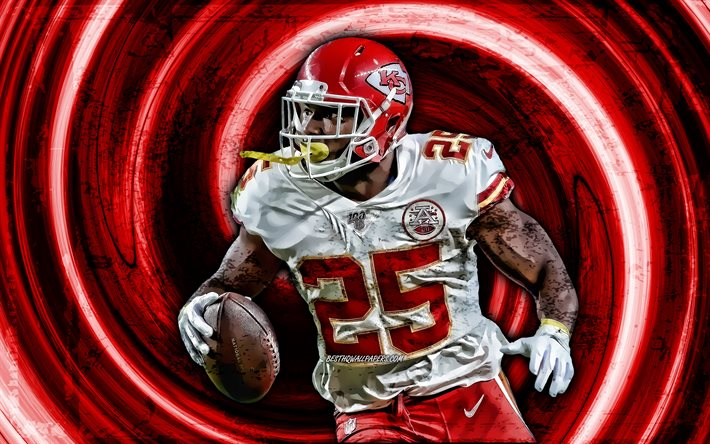 4k, LeSean McCoy, red grunge background, Kansas City Chiefs, running back, american football, NFL, LeSean Kamel McCoy, vortex, Shady, LeSean McCoy 4K, LeSean McCoy KC Chiefs