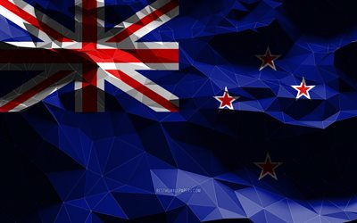4k, New Zealand flag, low poly art, Oceanian countries, national symbols, Flag of New Zealand, 3D flags, New Zealand, Oceania, New Zealand 3D flag