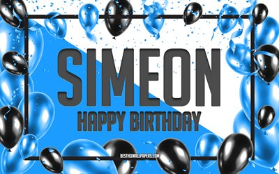 Happy Birthday Simeon, Birthday Balloons Background, Simeon, wallpapers with names, Simeon Happy Birthday, Blue Balloons Birthday Background, Simeon Birthday