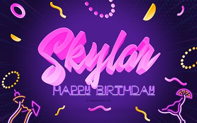 Happy Birthday Skylar, 4k, Purple Party Background, Skylar, creative art, Happy Skylar birthday, Skylar name, Skylar Birthday, Birthday Party Background