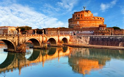 Aelian Bridge, 4k, italian landmarks, Rome, Tiber River, Italy, Europe, Castle of the Holy Angel, italian cities, Ponte Sant Angelo