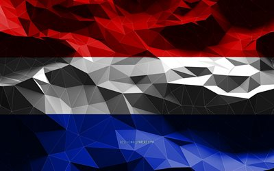 4k, Dutch flag, low poly art, European countries, national symbols, Flag of Netherlands, 3D flags, Netherlands flag, Netherlands, Europe, Netherlands 3D flag