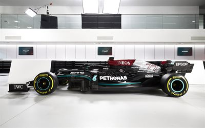 2021, Formula 1, Mercedes-AMG F1 W12 E Performance, 4k, side view, exterior, racing car, new W12, F1, Valtteri Bottas car, Mercedes-AMG Petronas F1 Team
