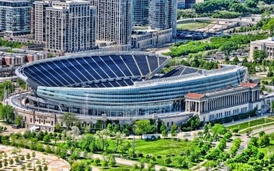 soldier field, american-football-stadion, chicago, illinois, chicago bears-stadion, nfl, chicago fire fc-stadion, mls, usa, chicago-stadtbild, american-football