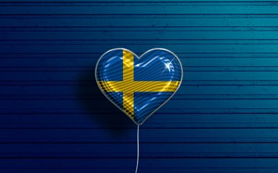 I Love Sweden, 4k, realistic balloons, blue wooden background, Swedish flag heart, Europe, favorite countries, flag of Sweden, balloon with flag, Swedish flag, Sweden, Love Sweden
