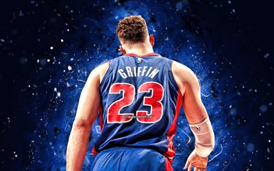 Blake Griffin, 4k, back view, Detroit Pistons, NBA, basketball, Blake Austin Griffin, Blake Griffin Detroit Pistons, blue neon lights, Blake Griffin 4K