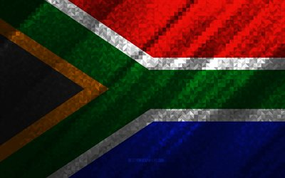 Flag of South Africa, multicolored abstraction, South Africa mosaic flag, South Africa, mosaic art, South Africa flag