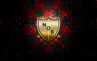 Newells Old Boys FC, glitter logo, Argentine Primera Division, red black checkered background, soccer, argentinian football club, Newells Old Boys logo, mosaic art, CA Newells Old Boys, football, Club Atletico Newells Old Boys