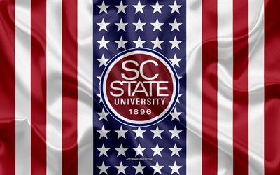 south carolina state university emblem, amerikanische flagge, south carolina state university logo, orangeburg, south carolina, usa, south carolina state university