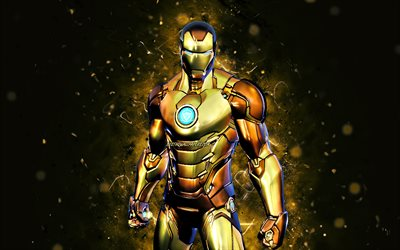 Gold Foil Iron Man, 4k, yellow neon lights, 2021 games, Fortnite Battle Royale, Fortnite characters, Gold Foil Iron Man Skin, Fortnite, Gold Foil Iron Man Fortnite