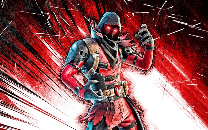 4k, Ravenpool, arte grunge, Fortnite Battle Royale, personagens de Fortnite, Ravenpool Skin, raios abstratos vermelhos, Fortnite, Ravenpool Fortnite