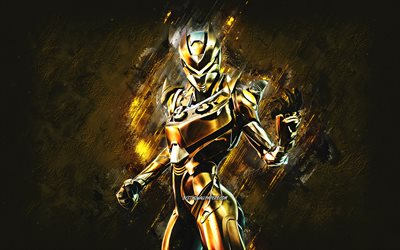 Fortnite Gold Oblivion Skin, Fortnite, main characters, gold stone background, Gold Oblivion, Fortnite skins, Gold Oblivion Skin, Gold Oblivion Fortnite, Fortnite characters