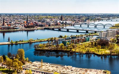 Riga, summer, river, Latvia, urban panorama