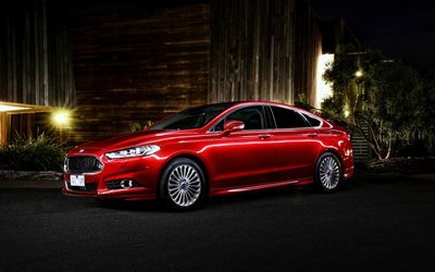 Ford Mondeo Titanium, 2017 cars, sedans, red Mondeo, night, Ford