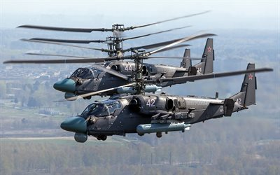 Kamov Ka-52 Alligator, 4k, attack helicopter, combat aircraft, Russian Air Force, Ka-52, Russian Army