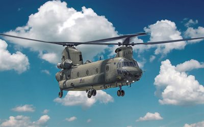 Boeing CH-47 Chinook, flight, military helicopter, CH-47D Chinook, Boeing, NATO, Royal Air Force