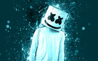 4k, Marshmello, fan art, superstars, american DJ, Christopher Comstock, light blue neon, Marshmello 4K, artwork, DJ Marshmello, DJs