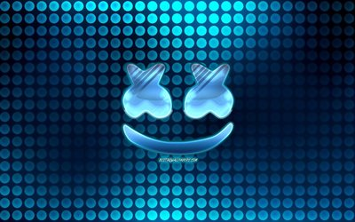 Marshmello blue logo, creative, american DJ, glass logo, Christopher Comstock, Marshmello, blue abstract background, DJ Marshmello, DJs, Marshmello logo