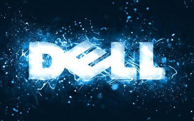Dell blue logo, 4k, blue neon lights, creative, blue abstract background, Dell logo, brands, Dell
