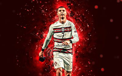 4k, Cristiano Ronaldo, 2021, Portugal National Team, soccer, footballers, Cristiano Ronaldo dos Santos Aveiro, red neon lights, Portuguese football team, CR7, Cristiano Ronaldo 4K