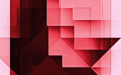 Red abstract background, Red geometric abstraction, Red rectangles background, abstract background