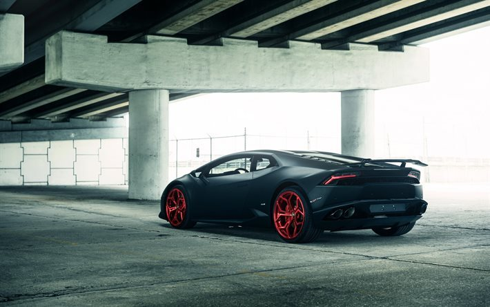 Lamborghini Huracan, Vellano MC, Matte Black, Red Wheels, Sports Car, Tuning
