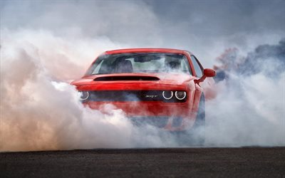 Dodge Challenger SRT, 2018 cars, smoke, supercars, red Challenger, Dodge