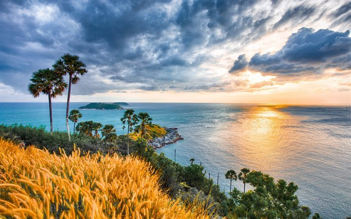 Phuket, sunset, waves, Thailand, Indian Ocean, Andaman Sea, Cape Prom Thep