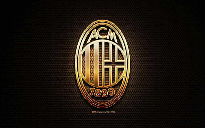Download Wallpapers Milan Fc Glitter Logo Serie A Italian Football Club Metal Grid Background Milan Glitter Logo Football Soccer Ac Milan Italy For Desktop Free Pictures For Desktop Free