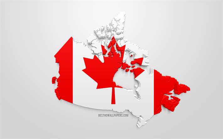 Map Of Canada Silhouette.Download Wallpapers 3d Flag Of Canada Silhouette Map Of Canada 3d