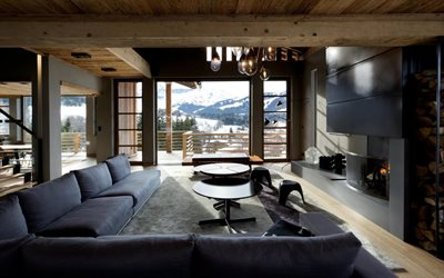 stylish modern living room design, loft style, wooden ceiling, concrete walls, fireplace, country house, stylish interior
