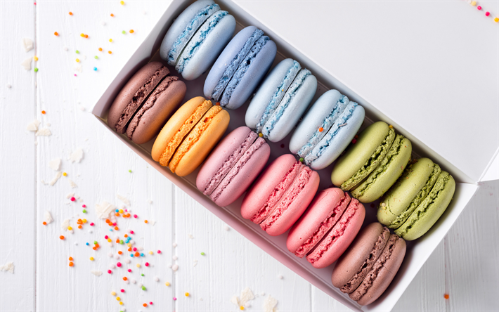 colorful macaroons, French pastries, color cookies, sweets, cakes, macaroons