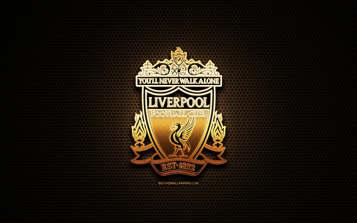 Download Wallpapers Liverpool FC, Glitter Logo, Premier