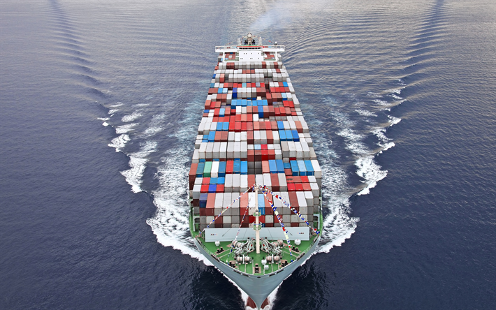 container ship, large cargo ship, shipping by sea concepts, ship with containers