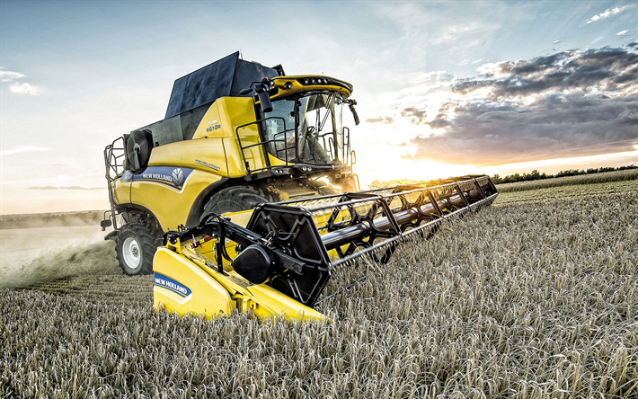 New Holland Cr8-80, combine harvester, harvesting concepts, wheat field, sunset, wheat harvest, New Holland