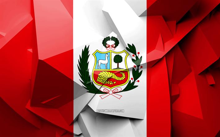 Descargar Fondos De Pantalla 4k La Bandera Del Peru El Arte Geometrico Paises De America Del Sur Bandera Peruana Creativo Peru America Del Sur Peru 3d De La Bandera Los Simbolos Nacionales